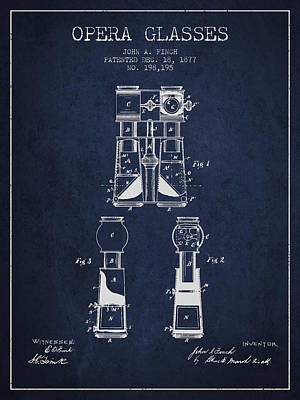 Opera Glasses Patent From 1877 - Navy Blue Poster by Aged Pixel