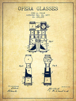 Opera Glasses Patent From 1877 - Vintage Poster by Aged Pixel