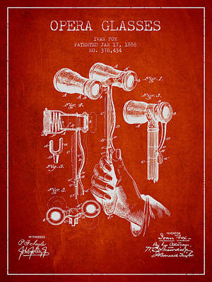 Opera Glasses Patent From 1888 - Red Poster by Aged Pixel