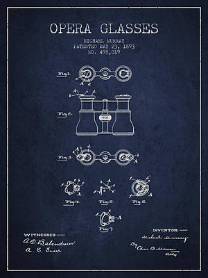 Opera Glasses Patent From 1893 - Navy Blue Poster by Aged Pixel