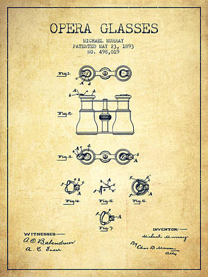 Opera Glasses Patent From 1893 - Vintage Poster by Aged Pixel