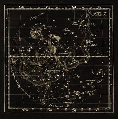 Ophiuchus Constellations, 1829 Poster