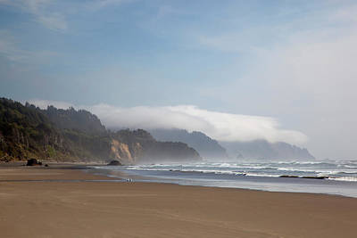 Or, Oregon Coast, Arcadia Beach And Fog Poster