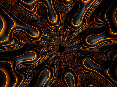 Orange And Black Mandelbrot Fractal Artwork Poster by Matthias Hauser