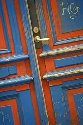 Orange And Blue Painted Wooden Door Poster