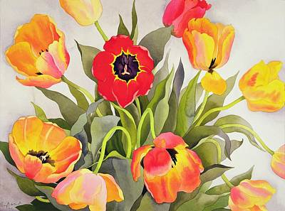 Orange And Red Tulips  Poster by Christopher Ryland