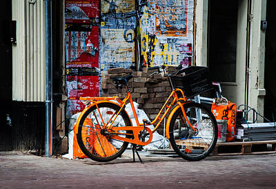 Orange Bike. Amsterdam Poster