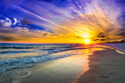 Orange Blue Saturated Sunset-pensacola Beach-bright Sun Poster