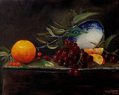 Orange Bowl Grapes Branch Poster