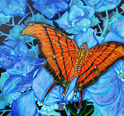 Poster featuring the painting Orange Butterfly by Debbie Chamberlin