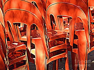 Orange Chairs Poster