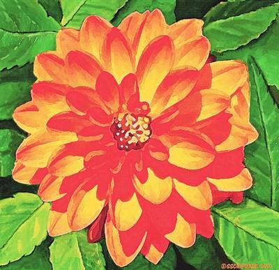 Orange Dahlia Poster
