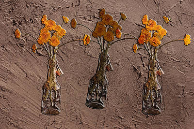 Orange Flowers Embedded In Adobe Poster