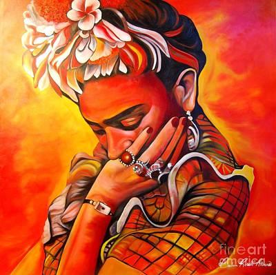 Orange Frida  Poster by Barbara  Rivera