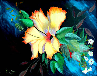 Poster featuring the painting Orange Hibiscus by Fram Cama