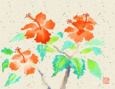 Orange Hibiscus Watercolor Painting With Beige Washi Background Poster