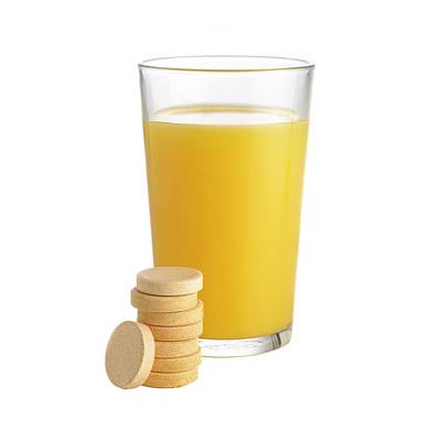 Orange Juice And Vitamin C Tablets Poster by Science Photo Library