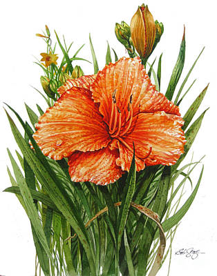 Poster featuring the painting Orange Lily by Bob  George