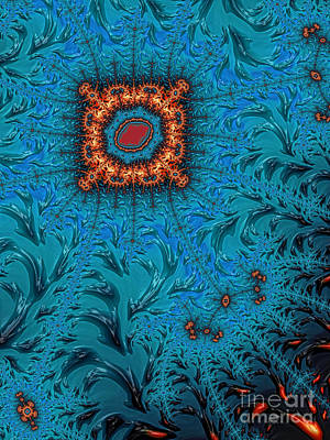 Orange On Blue Abstract Poster