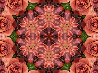 Orange Rose Mandala Poster