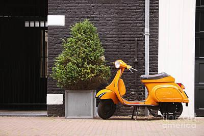Orange Scooter Poster by Jane Rix