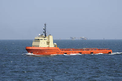 Orange Supply Vessel Underway Poster