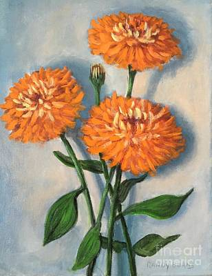 Poster featuring the painting Orange Zinnias by Randol Burns