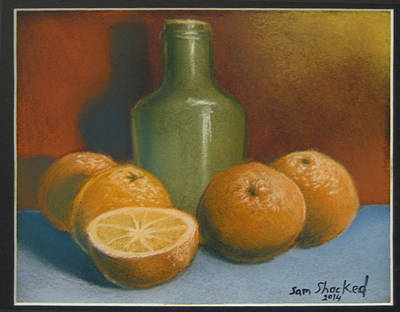 Oranges And A Wine Jug Poster by Sam Shacked