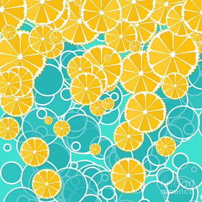 Oranges And Bubbles Poster