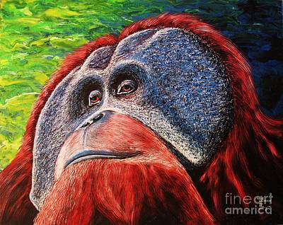 Poster featuring the painting Orangutan by Viktor Lazarev
