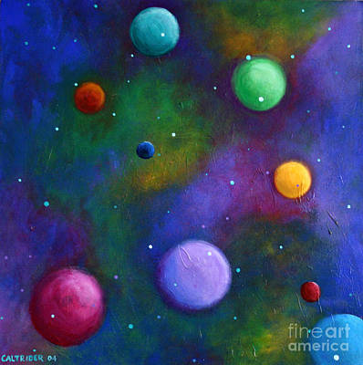 Poster featuring the painting Orbs In Space by Alison Caltrider