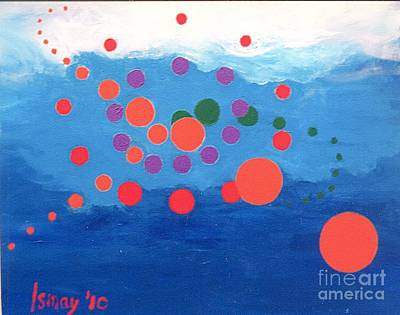 Poster featuring the painting Orbs Under Water by Rod Ismay