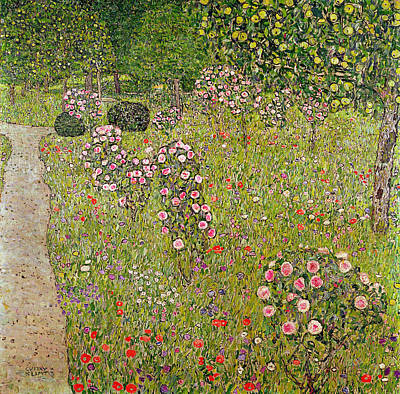 Orchard With Roses Obstgarten Mit Rosen Poster by Gustav Klimt
