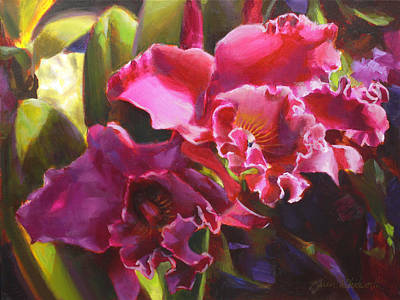 Orchids In Magenta Poster by Karen Whitworth
