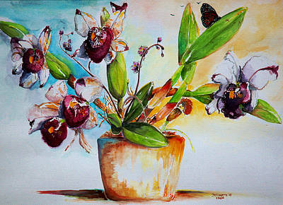 Poster featuring the painting Orchids Of The Bay by Bernadette Krupa