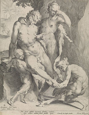 Oreaden Removing A Thorn From The Foot Of A Satyr Poster by Jan Harmensz. Muller And Clement De Jonghe And Harmen Jansz Muller