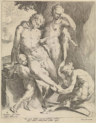 Oreaden Removing A Thorn From The Foot Of A Satyr Poster by Jan Harmensz. Muller And Frederik De Wit