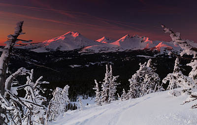 Poster featuring the photograph Oregon Cascades Winter Sunset by Kevin Desrosiers
