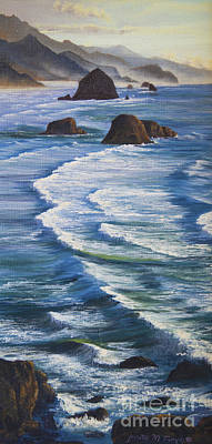 Poster featuring the painting Oregon Coastline by Jeanette French