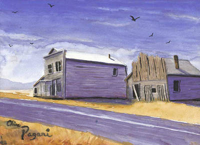 Oregon Ghost Town Watercolor Poster