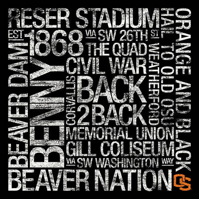 Oregon State College Colors Subway Art Poster