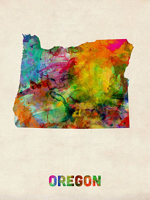 Oregon Watercolor Map Poster by Michael Tompsett