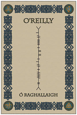 Poster featuring the digital art O'reilly Written In Ogham by Ireland Calling