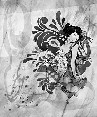 Oriental Beauty Black And White Poster