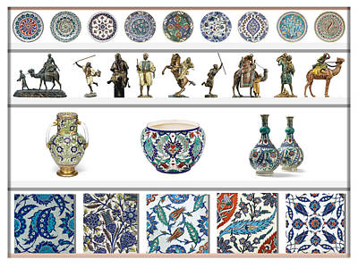 Oriental Ceramics Pottery And Bronze Art Collection Poster