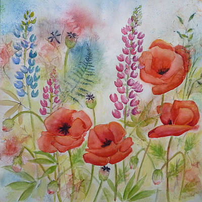 Poster featuring the painting Oriental Poppies Meadow by Carla Parris