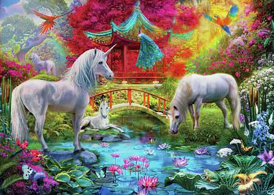 Poster featuring the drawing Orietnal Unicorns by Jan Patrik Krasny