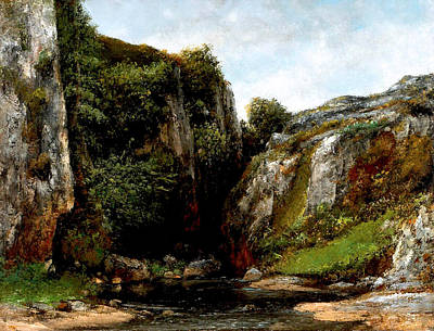 Poster featuring the digital art Origin Of A Stream by Gustave Courbet