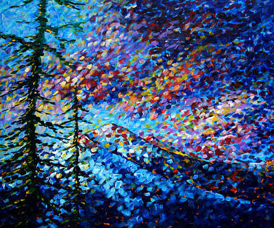 Original Abstract Impressionist Landscape Contemporary Art By Madart Mountain Glory Poster
