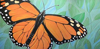 Poster featuring the painting Original Abstract Painting Butterfly Print ... Monarch by Amy Giacomelli